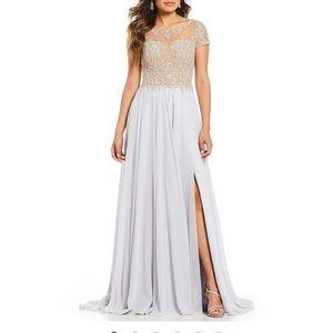 Terani Couture beaded bodice chiffon ball gown NWT